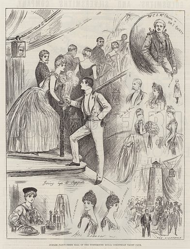 Jubilee Fancy-Dress Ball of the Portsmouth Royal Corinthian Yacht Club. Illustration for The Illustrated London News, 7 May 1887.