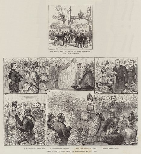 Royal Visit to Saltaire. Illustration for The Illustrated London News, 14 May 1887.