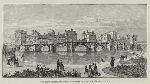 The Royal Jubilee Exhibition, Newcastle-on-Tyne, the Old Tyne Bridge. Illustration for The Illustrated London News, 14 May 1887.
