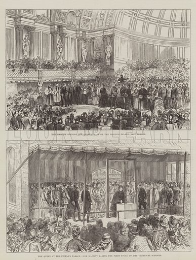 The Queen at the People's Palace. Illustration for The Illustrated London News, 21 May 1887.
