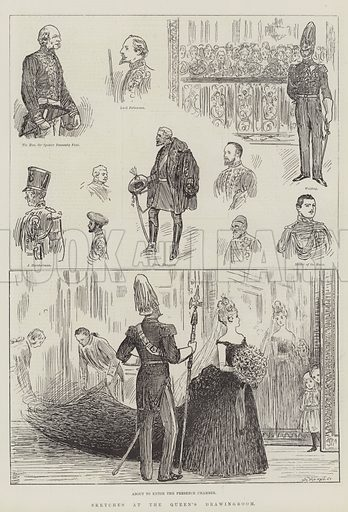 Sketches at the Queen's Drawingroom. Illustration for The Illustrated London News, 21 May 1887.
