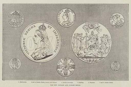 The New Coinage and Jubilee Medal. Illustration for The Illustrated London News, 4 June 1887.