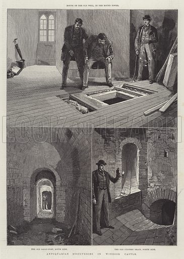 Antiquarian Discoveries in Windsor Castle. Illustration for The Illustrated London News, 11 June 1887.