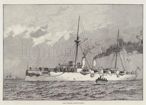 HMS Orlando, Belted Cruiser. Illustration for The Illustrated London News, 18 June 1887.