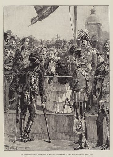 The Queen distributing Decorations to Wounded Officers and Soldiers from the Crimea, 21 May 1856. Illustration for The Illustrated London News, 13 June 1887.