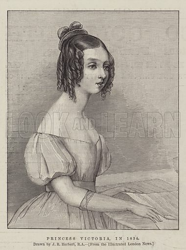 Princess Victoria, in 1834. Illustration for The Illustrated London News, 13 June 1887.