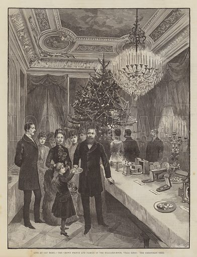 Life at San Remo, the Crown Prince and Family in the Billiard-Room, Villa Zirio, the Christmas Tree. Illustration for The Illustrated London News, 7 January 1888.