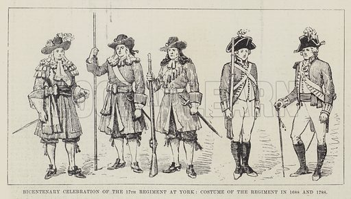 Bicentenary Celebration of the 17th Regiment at York, Costume of the Regiment in 1688 and 1788. Illustration for The Illustrated London News, 21 January 1888.