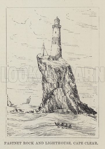 Fastnet Rock and Lighthouse, Cape Clear. Illustration for The Illustrated London News, 21 January 1888.