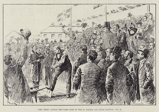 Lord Derby cutting the First Turf of the St Helens and Wigan Railway, 28 January. Illustration for The Illustrated London News, 4 February 1888.