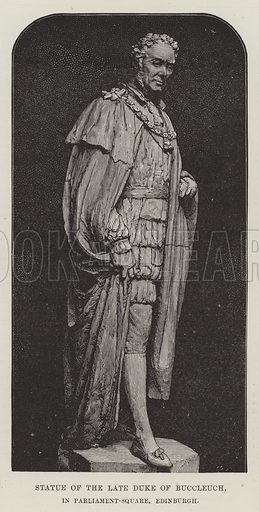 Statue of the late Duke of Buccleuch, in Parliament-Square, Edinburgh. Illustration for The Illustrated London News, 18 February 1888.