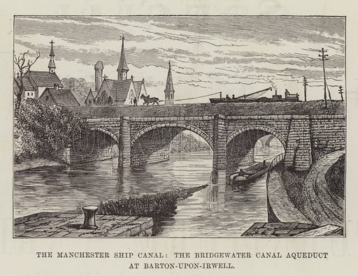 The Manchester Ship Canal, the Bridgewater Canal Aqueduct at Barton-upon-Irwell. Illustration for The Illustrated London News, 25 February 1888.