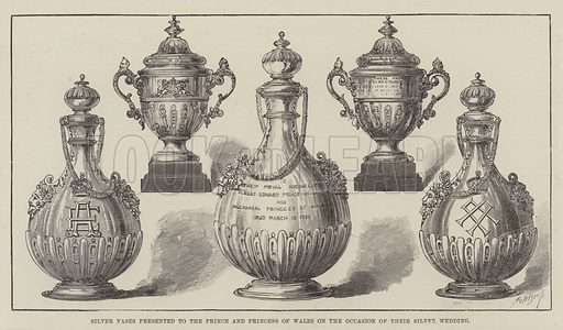 Silver Vases presented to the Prince and Princess of Wales on the Occasion of their Silver Wedding. Illustration for The Illustrated London News, 10 March 1888.