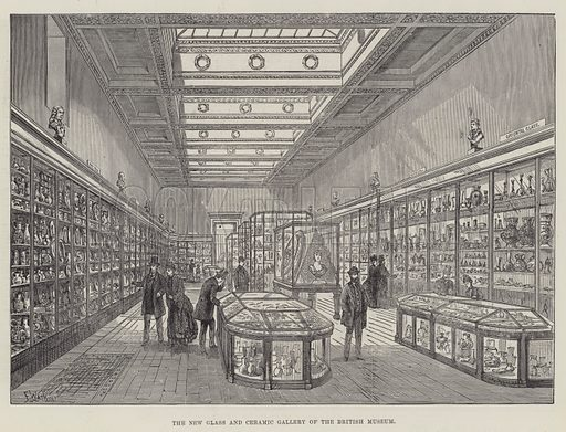 The New Glass and Ceramic Gallery of the British Museum. Illustration for The Illustrated London News, 10 March 1888.