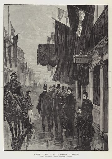 A City in Mourning, the Streets of Berlin. Illustration for The Illustrated London News, 17 March 1888.