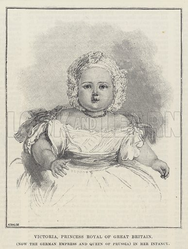 Victoria, Princess Royal of Great Britain, (Now the German Empress and Queen of Prussia) in her Infancy. Illustration for The Illustrated London News, 31 March 1888.