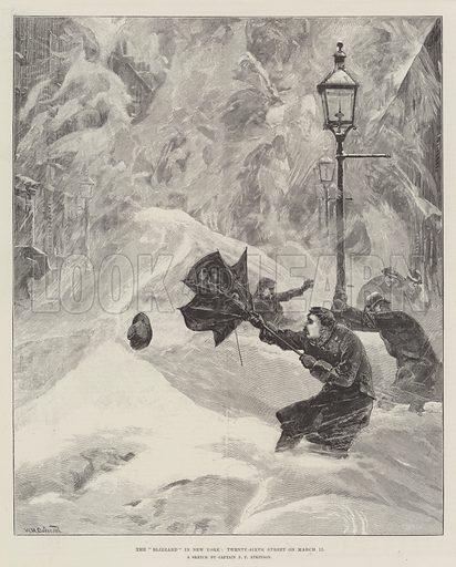 """The """"Blizzard"""" in New York, Twenty-Sixth Street on 12 March. Illustration for The Illustrated London News, 7 April 1888."""