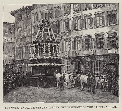 """The Queen in Florence, Car used in the Ceremony of the """"Dove and Car"""". Illustration for The Illustrated London News, 14 April 1888."""
