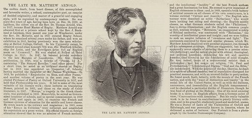 The late Mr Matthew Arnold. Illustration for The Illustrated London News, 21 April 1888.