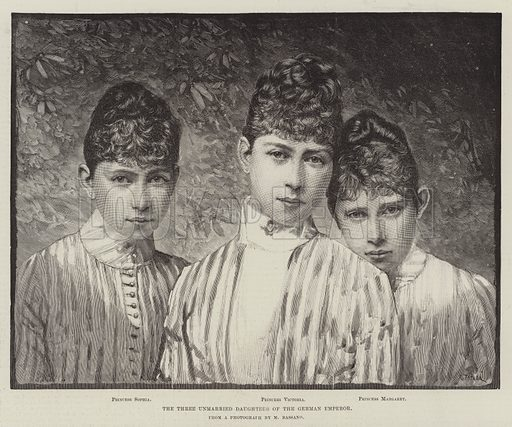 The Three Unmarried Daughters of the German Emperor. Illustration for The Illustrated London News, 21 April 1888.
