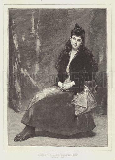 """Pictures at the Paris Salon, """"Portrait de Ma Fille"""". Illustration for The Illustrated London News, 28 April 1888."""