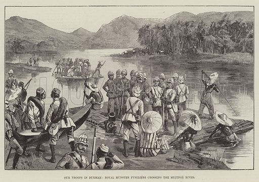 Our Troops in Burmah, Royal Munster Fusiliers crossing the Myitnge River. Illustration for The Illustrated London News, 5 May 1888.