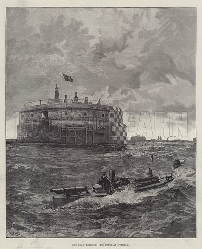 Our Coast Defences, the Forts at Spithead. Illustration for The Illustrated London News, 26 May 1888.