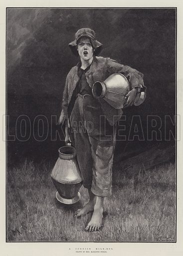 A Cornish Milk-Boy. Illustration for The Illustrated London News, 26 May 1888.