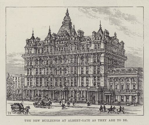 The New Buildings at Albert-Gate as they are to be. Illustration for The Illustrated London News, 26 May 1888.