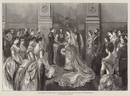 The Marriage of Prince Henry of Prussia and Princess Irene of Hesse, at Charlottenburg. Illustration for The Illustrated London News, 2 June 1888.