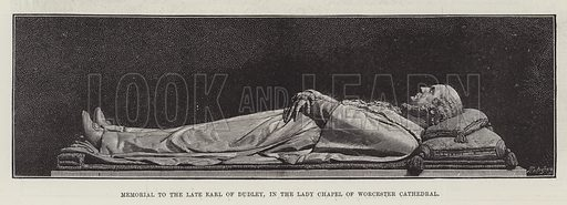 Memorial to the late Earl of Dudley, in the Lady Chapel of Worcester Cathedral. Illustration for The Illustrated London News, 16 June 1888.