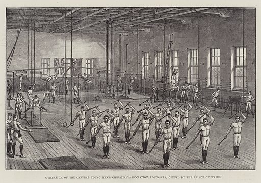 Gymnasium of the Central Young Men's Christian Association, Long-Acre, opened by the Prince of Wales. Illustration for The Illustrated London News, 16 June 1888.
