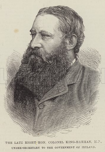 The late Right Honourable Colonel King-Harman, MP, Under-Secretary to the Government of Ireland. Illustration for The Illustrated London News, 23 June 1888.
