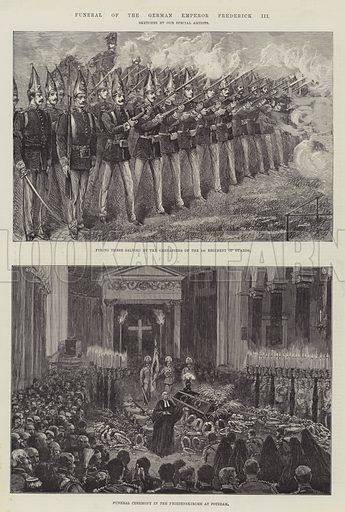 Funeral of the German Emperor Frederick III. Illustration for The Illustrated London News, 30 June 1888.