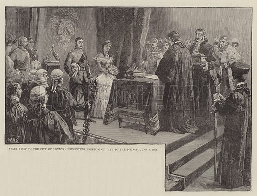 State Visit to the City of London, presenting Freedom of City to the Prince, 8 June 1863. Illustration for The Illustrated London News, 10 March 1888.