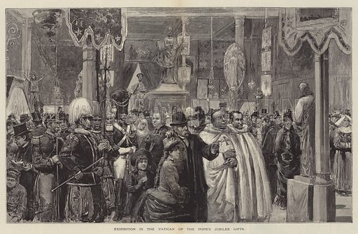 Exhibition in the Vatican of the Pope's Jubilee Gifts. Illustration for The Illustrated London News, 21 April 1888.