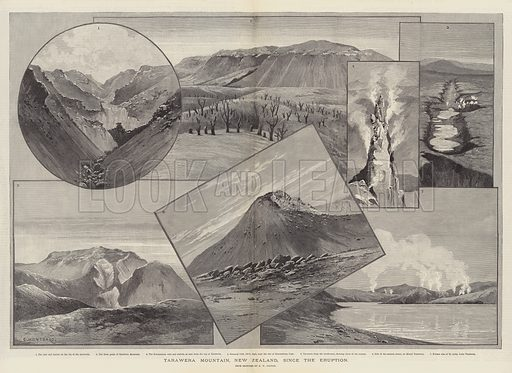 Tarawera Mountain, New Zealand, since the Eruption. Illustration for The Illustrated London News, 14 April 1888.