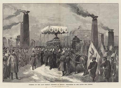 Funeral of the late German Emperor at Berlin, Procession in the Unter den Linden. Illustration for The Illustrated London News, 24 March 1888.