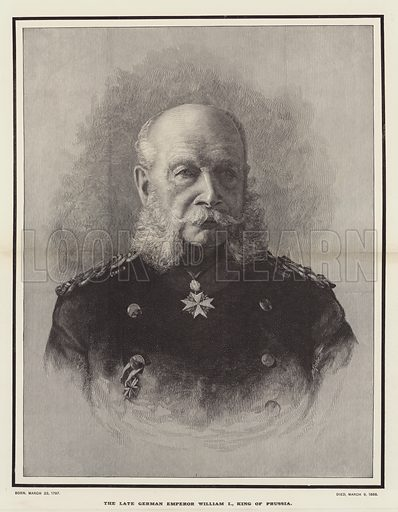 The late German Emperor William I, King of Prussia. Illustration for The Illustrated London News, 17 March 1888.