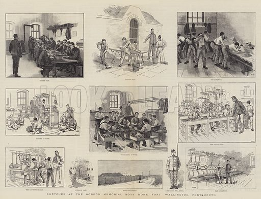 Sketches at the Gordon Memorial Boys' Home, Fort Wallington, Portsmouth. Illustration for The Illustrated London News, 14 January 1888.