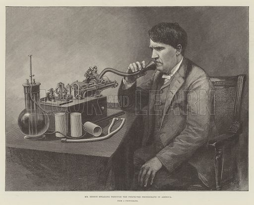Mr Edison speaking through the Perfected Phonograph in America. Illustration for The Illustrated London News, 21 July 1888.