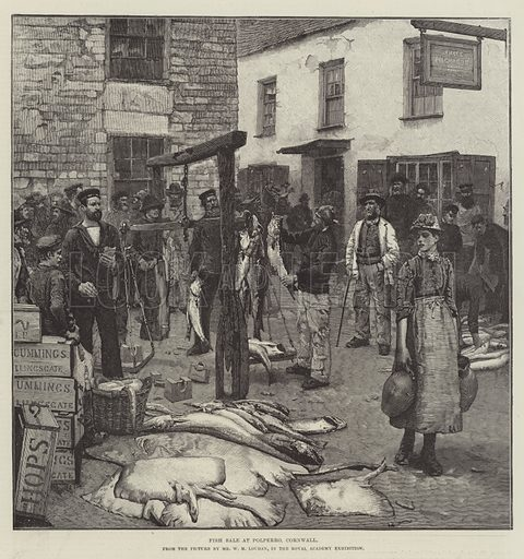 Fish Sale at Polperro, Cornwall. Illustration for The Illustrated London News, 4 August 1888.