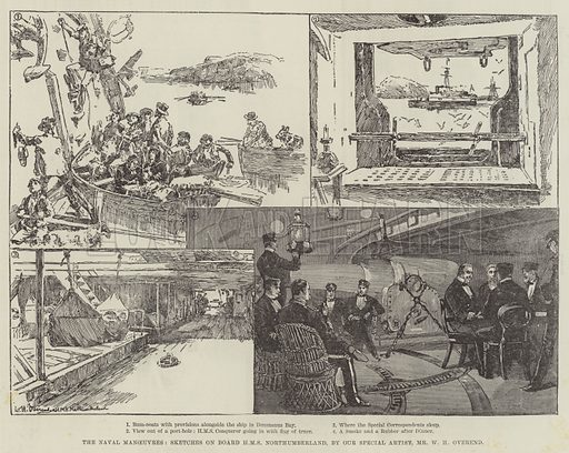 The Naval Manoeuvres, Sketches on Board HMS Northumberland. Illustration for The Illustrated London News, 18 August 1888.