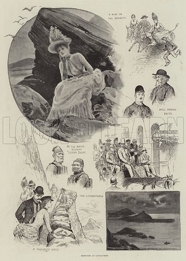 Sketches at Ilfracombe. Illustration for The Illustrated London News, 18 August 1888.