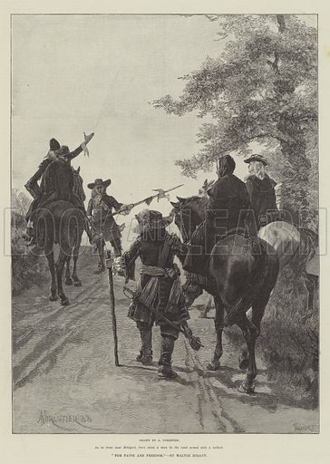 For Faith and Freedom, by Walter Besant. Illustration for The Illustrated London News, 25 August 1888.