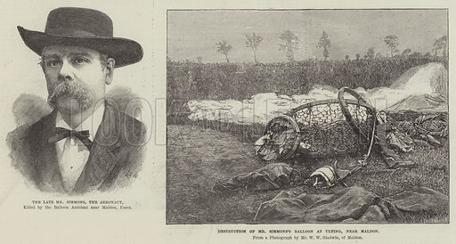 Fatal-Balloon Accident. Illustration for The Illustrated London News, 1 September 1888.