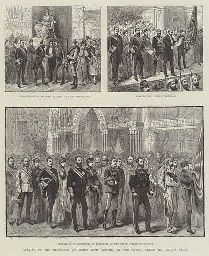 Opening of the Melbourne Exhibition. Illustration for The Illustrated London News, 15 September 1888.