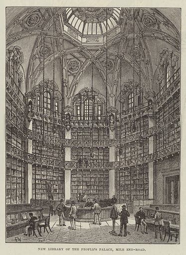 New Library of the People's Palace, Mile End-Road. Illustration for The Illustrated London News, 15 September 1888.