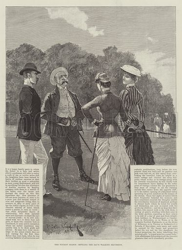 The Tourist Season, settling the Day's Walking Excursion. Illustration for The Illustrated London News, 15 September 1888.
