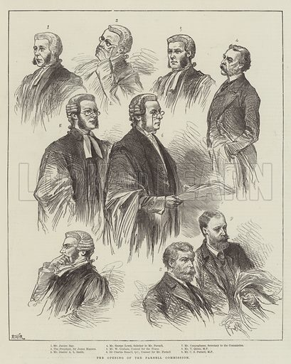 The Opening of the Parnell Commission. Illustration for The Illustrated London News, 22 September 1888.